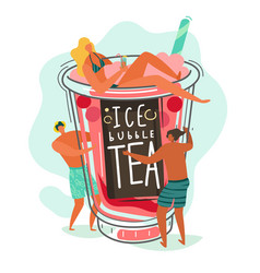 bubble tea small people characters and bubble vector image