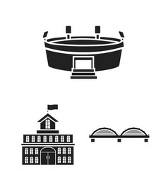 building and architecture black icons in set vector image