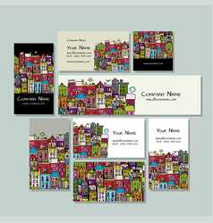 business cards design european city street vector image