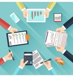 Businessmen hands with different office activities vector