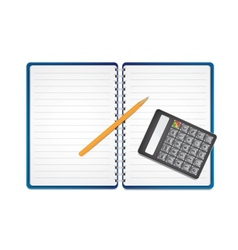 Calculator with pencil on paper vector image