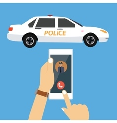 Call police car via mobile phone emergency vector