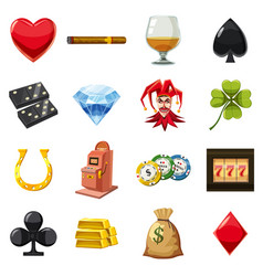 casino icons set symbols cartoon style vector image