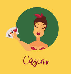 casino promotional poster with female client who vector image