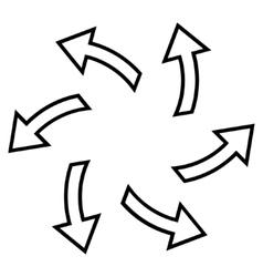 Centrifugal Arrows Outline Icon vector