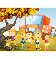 Children hanging out at school campus vector