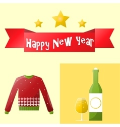 Christmas and new year icons set vector