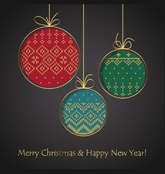 christmas ball card handmade postcard to new year vector image