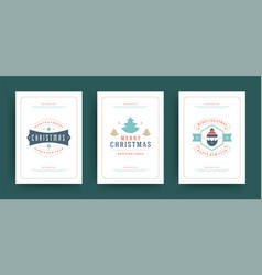 christmas greeting cards set design template vector image