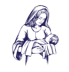 christmas story mary joseph and bajesus vector image