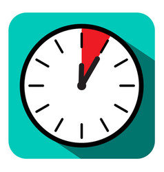 clock icon retro flat design five minutes symbol vector image