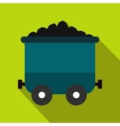 Coal trolley flat icon vector image