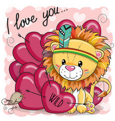 Cute cartoon tribal lion with hearts vector