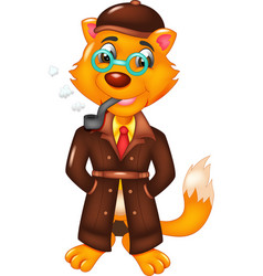 cute fox cartoon standing with smoking vector image