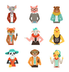 Cute humanized animals in fashion clothes set of vector