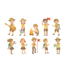 cute kids scouts camping set cute boys and girls vector image