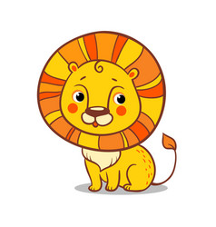 Cute lion sits on a white background vector