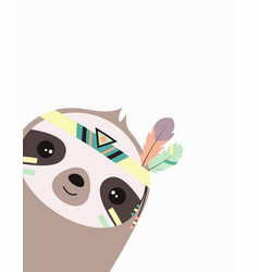 cute sloth isolated tribal animal vector image