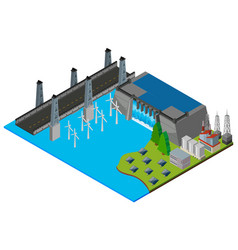 Dam by the road vector