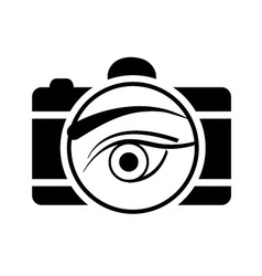 Digital Camera- photography logo with an eye vector