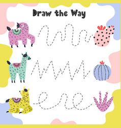 draw line from llama to cacti funny tracing vector image
