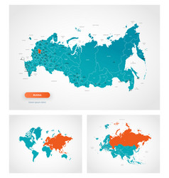 Editable template map russia with marks vector