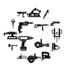 Electric tools icons set simple style vector