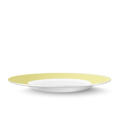 Empty yellow plate isolated on white background vector