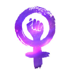 Feminism protest symbol with outer space vector