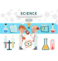 Flat science icons set vector