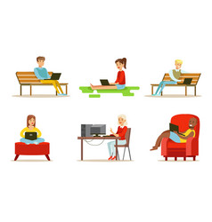 flat set of people with computers young vector image