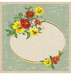 Flowers and vintage frame vector