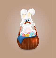 Fluffy easter bunny with wicker basket full of vector