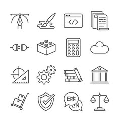 Freelance jobs line icon set 1 vector