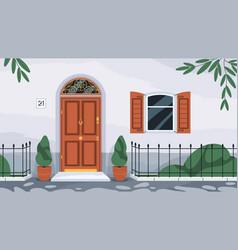 Front wooden door with knocker home exterior vector