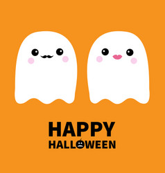 Ghost spirit family couple with lips mustaches vector