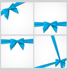 Gift card with ribbon and bow set vector
