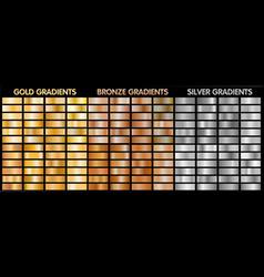 Gold silver bronze metalic gradients vector