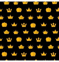 Golden Crown pattern on a black vector