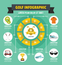 Golf infographic concept flat style vector