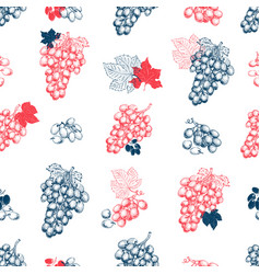 grape berry seamless pattern hand drawn vector image