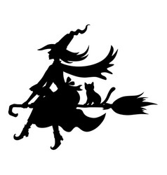 halloween witch and cat on broom fly silhouettes vector image