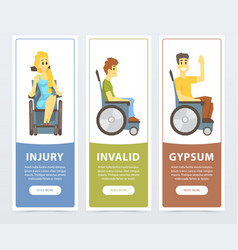 Handicapped people in wheelchairs banners set vector