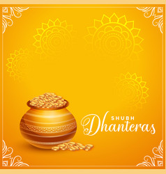 Happy dhanteras golden card decorative background vector