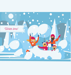 happy family playing with snow fort vector image