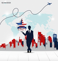 Happy independence day 4th of July Businessman vector
