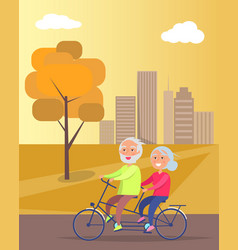 Happy mature couple riding together on bike vector