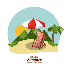 Happy summer holidays poster beach chair palm vector