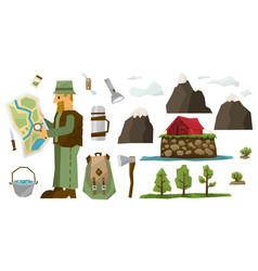 hiking equipment set vector image