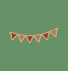 holiday flags garlands sign cordovan icon vector image